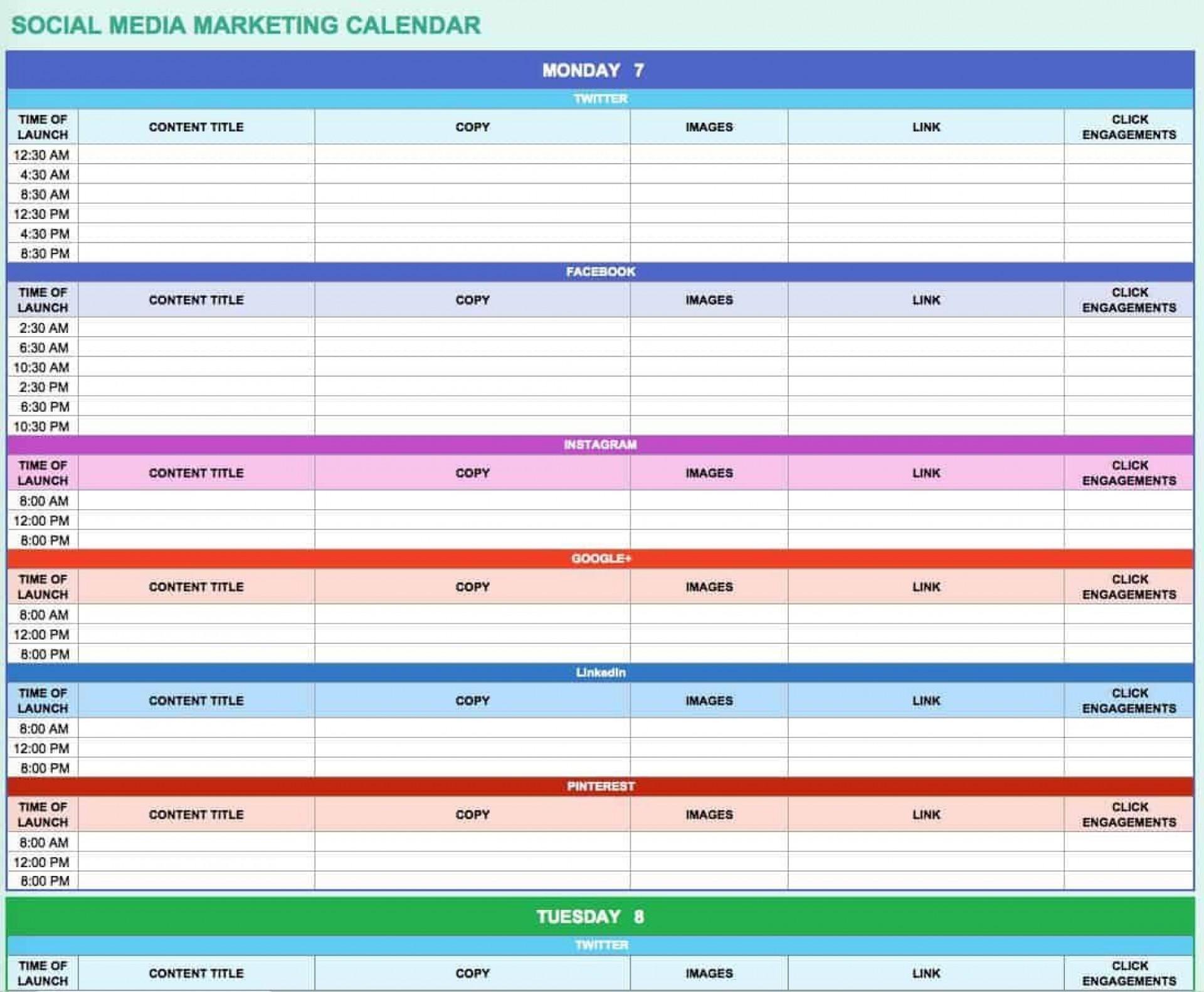 005 Amazing Social Media Editorial Calendar Template Example  Templates Content 2019 Planning 20201920