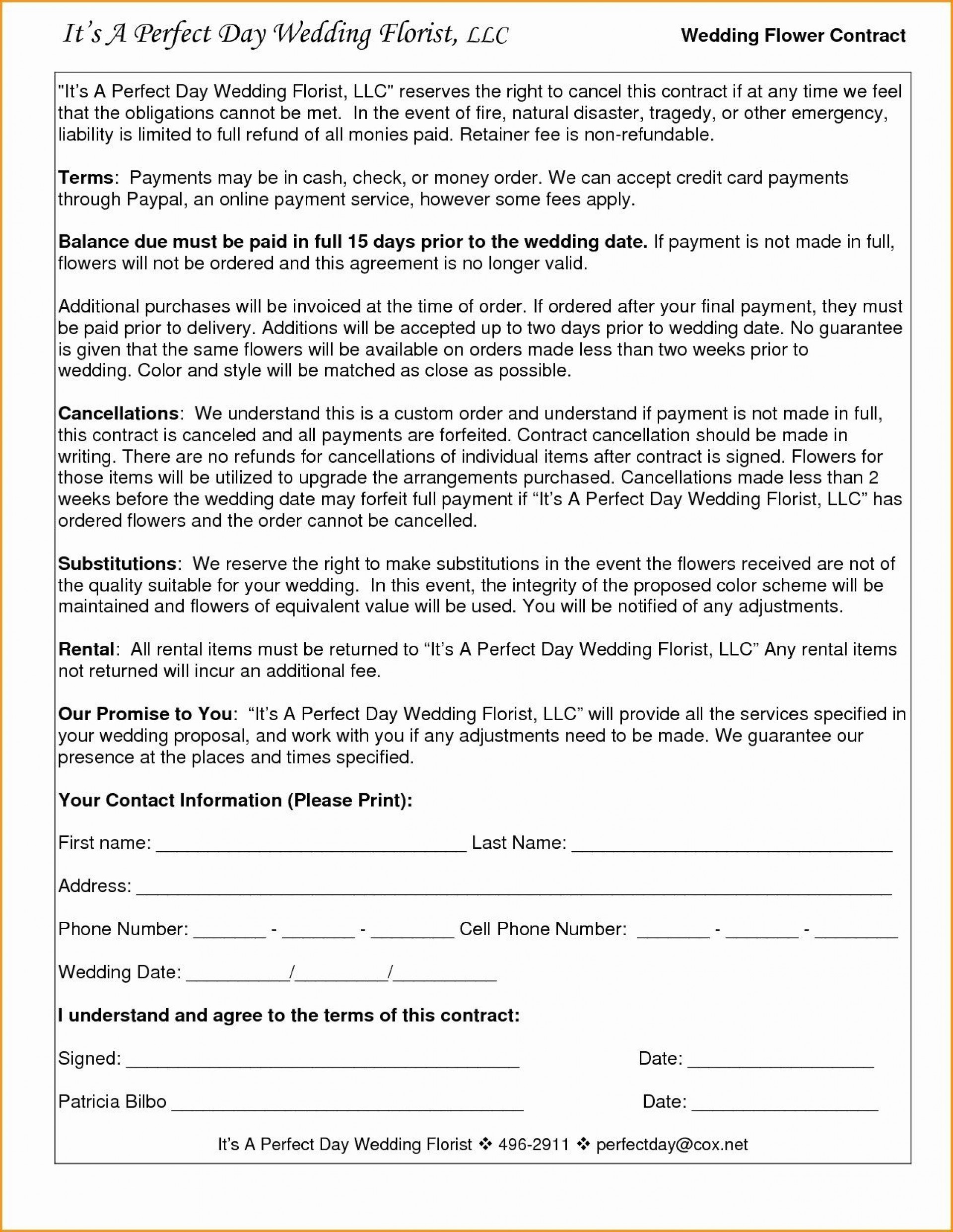 005 Amazing Wedding Videography Contract Template Highest Clarity  Free1920