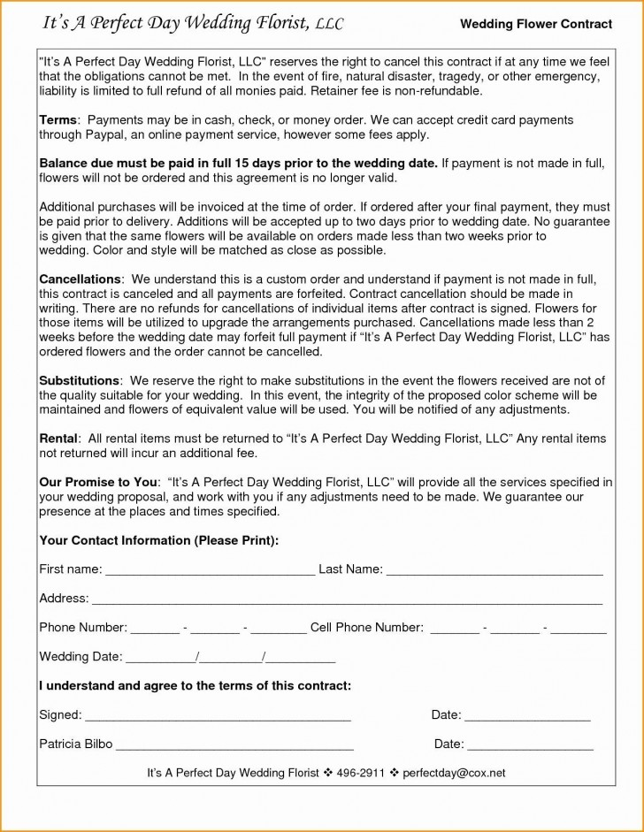 005 Amazing Wedding Videography Contract Template Highest Clarity  Pdf Example Word728