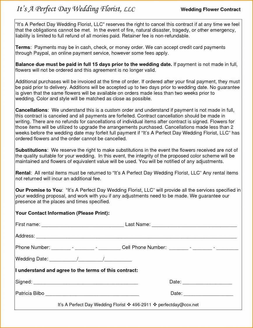 005 Amazing Wedding Videography Contract Template Highest Clarity  Pdf Example Word868
