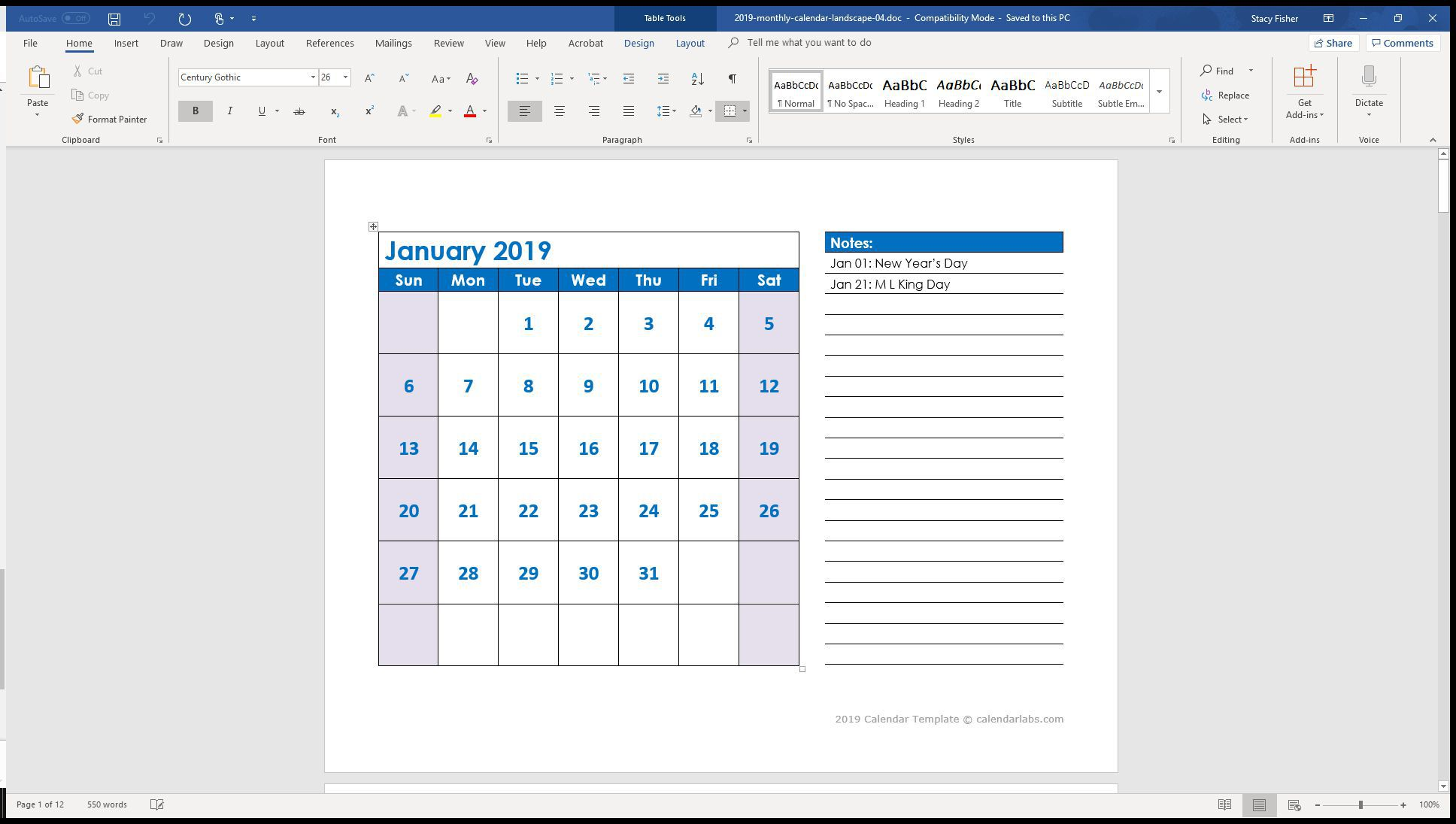005 Archaicawful Calendar Template For Word 2010 Design  2019 MicrosoftFull