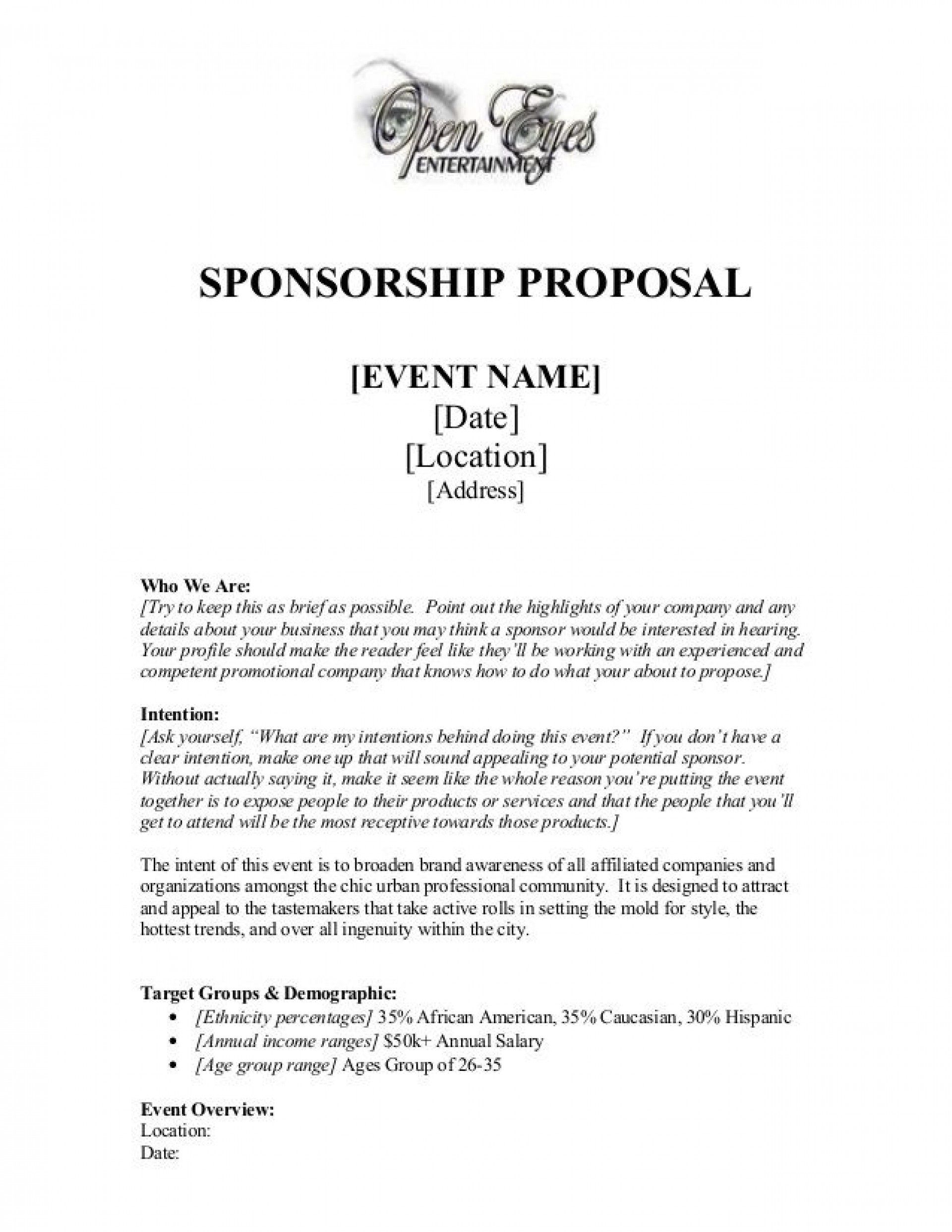 005 Archaicawful Event Sponsorship Proposal Template Free Word Picture Full
