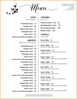 005 Archaicawful Free Menu Template For Word High Definition  Cupcake Download Drink Microsoft320