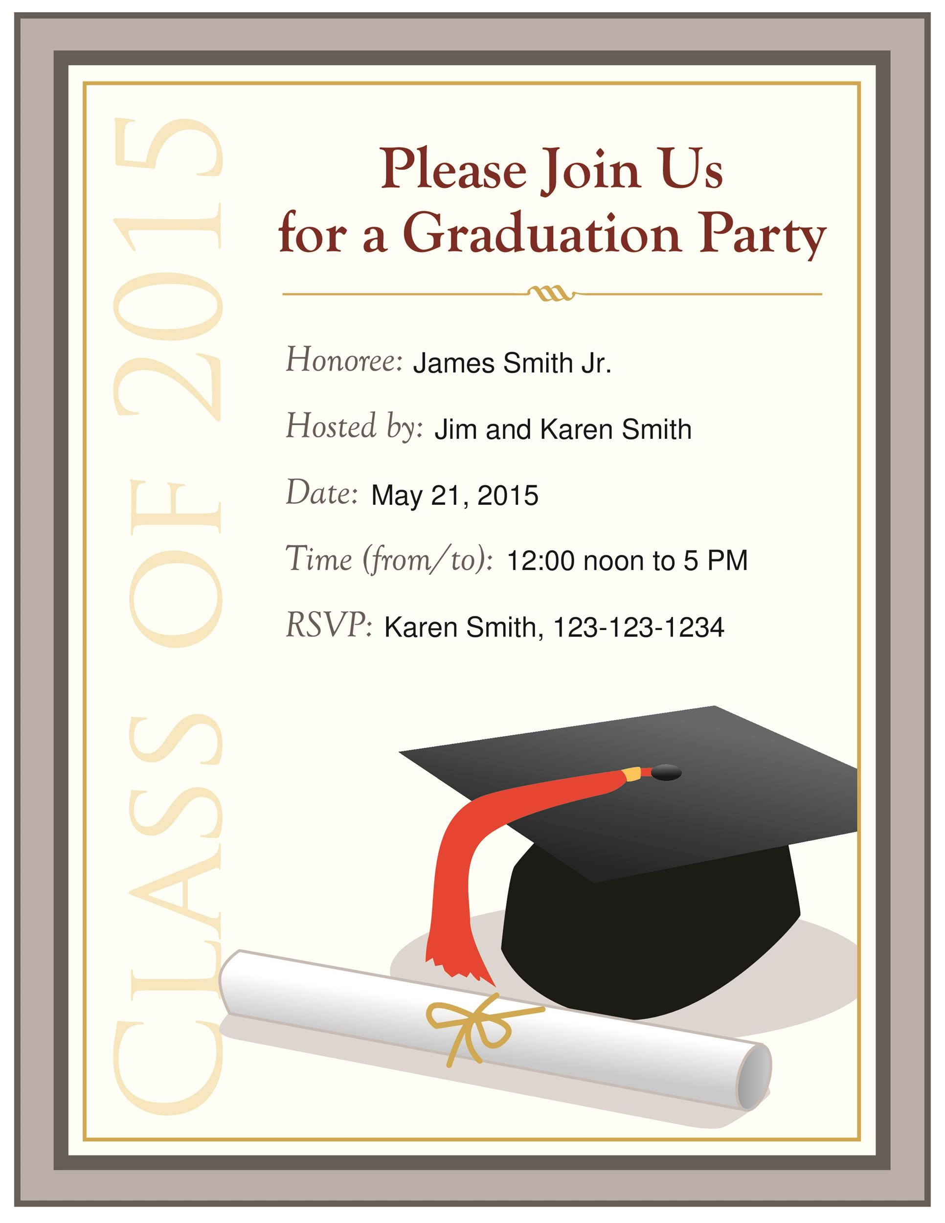 005 Archaicawful Graduation Party Invitation Template Idea  Microsoft Word 4 Per PageFull