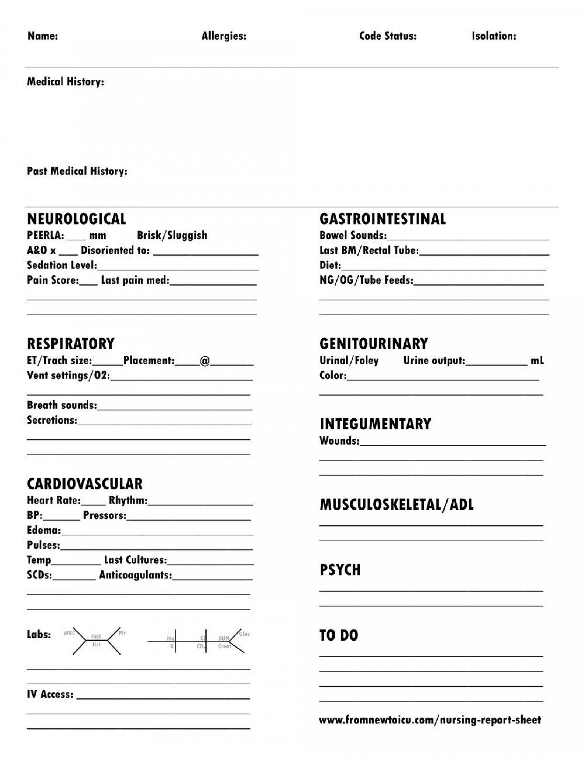 005 Archaicawful Nursing Report Sheet Template Sample  Icu Rn Printable1920