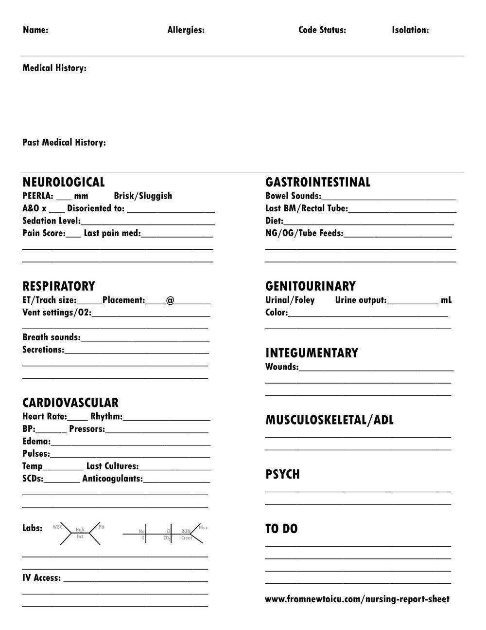 005 Archaicawful Nursing Report Sheet Template Sample  Icu Rn PrintableFull