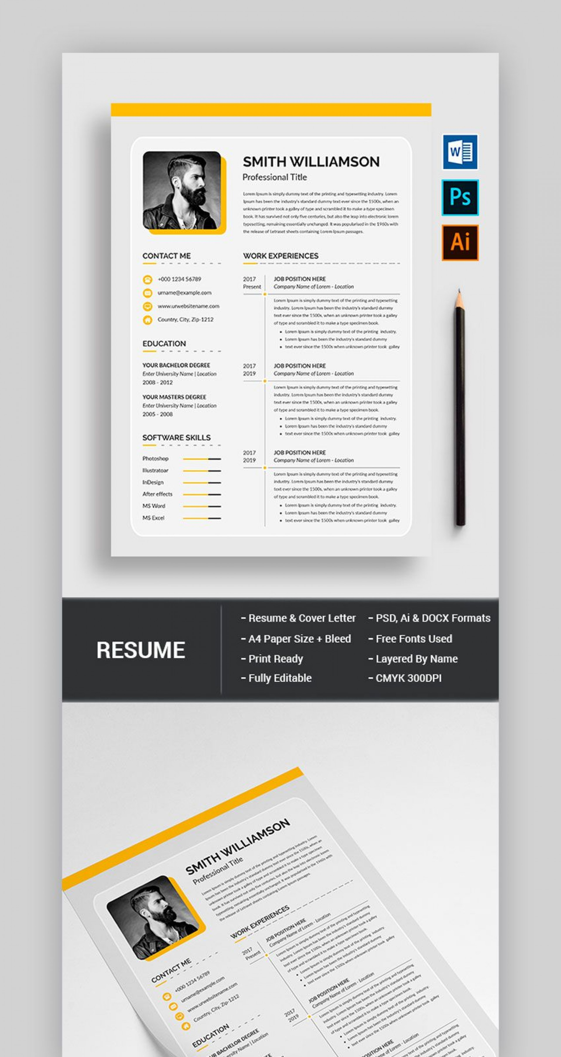 005 Archaicawful Photoshop Resume Template Free Psd Sample 1920