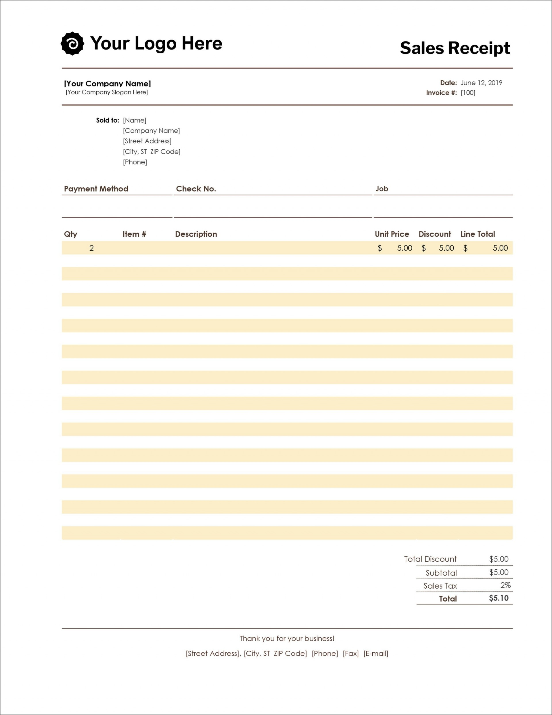 005 Archaicawful Receipt Template Microsoft Word Sample  Payment Invoice1920