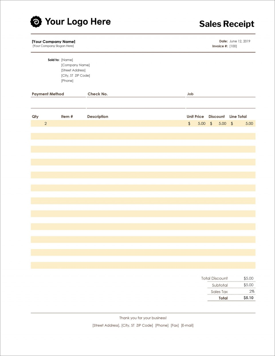 005 Archaicawful Receipt Template Microsoft Word Sample  Payment Invoice960