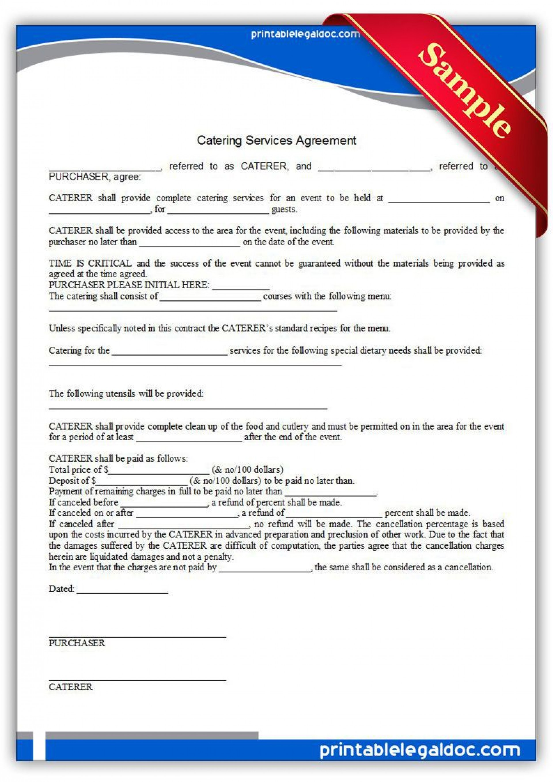 005 Astounding Catering Contract Template Free Idea  Word Sample Printable1920