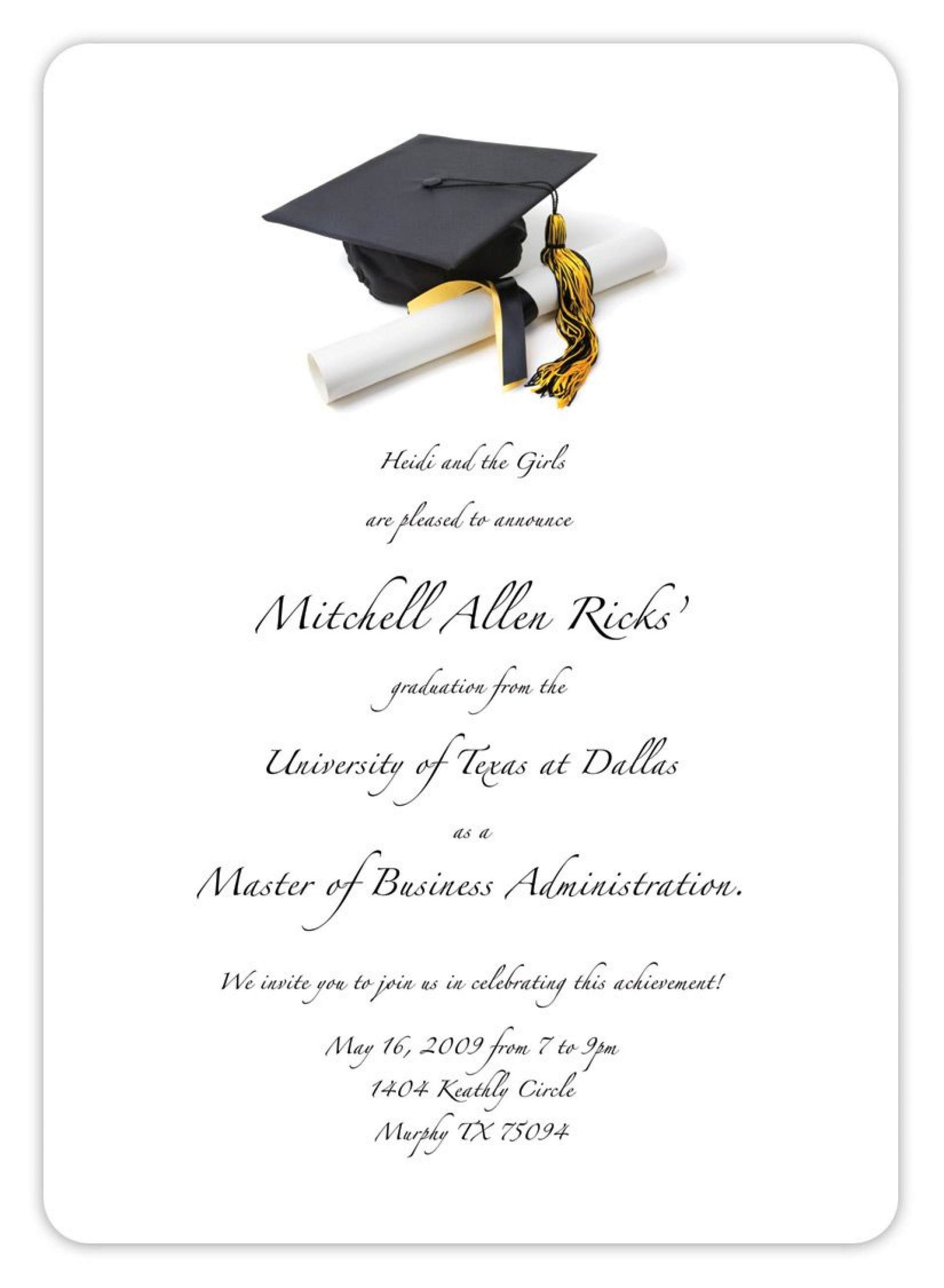 005 Astounding College Graduation Invitation Template Sample  Party Free For Word1920