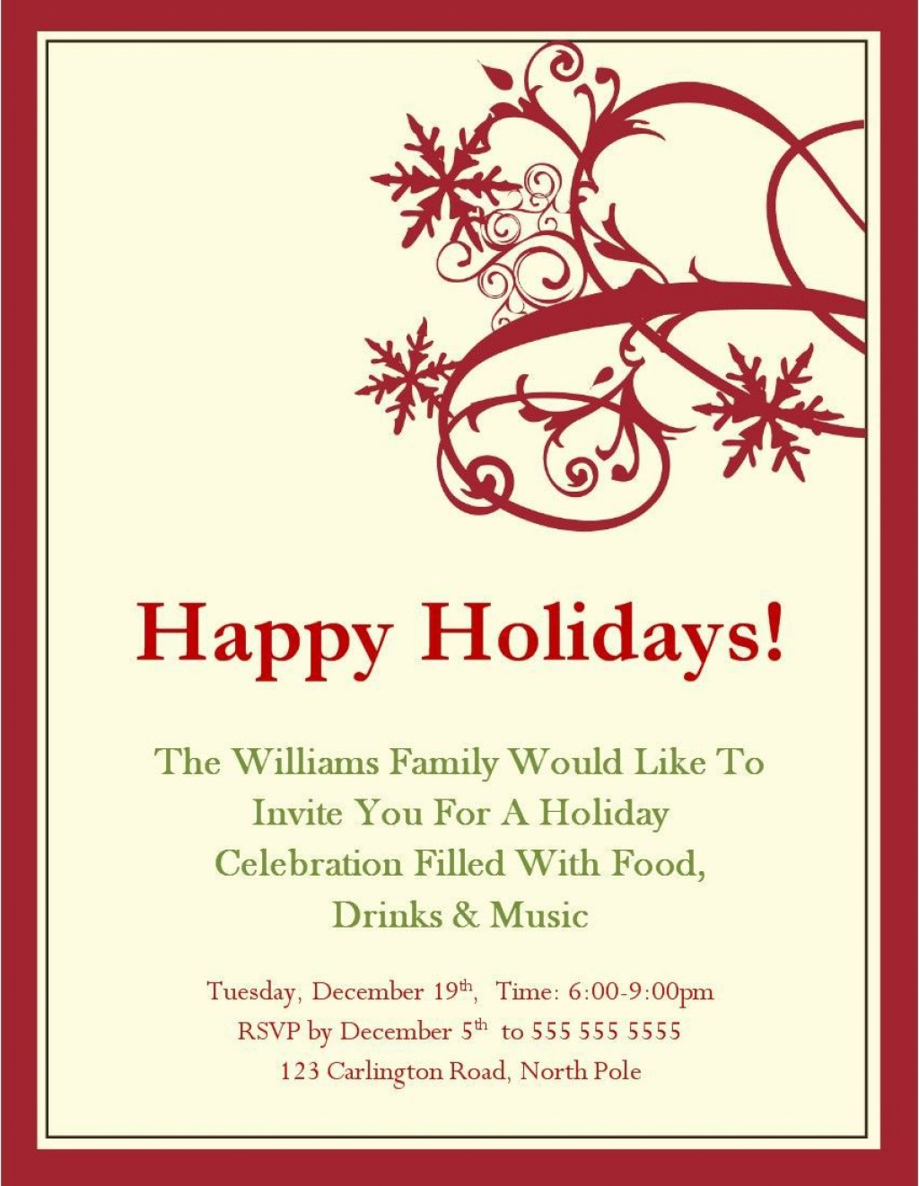 005 Astounding Free Holiday Party Flyer Template Word Photo Large