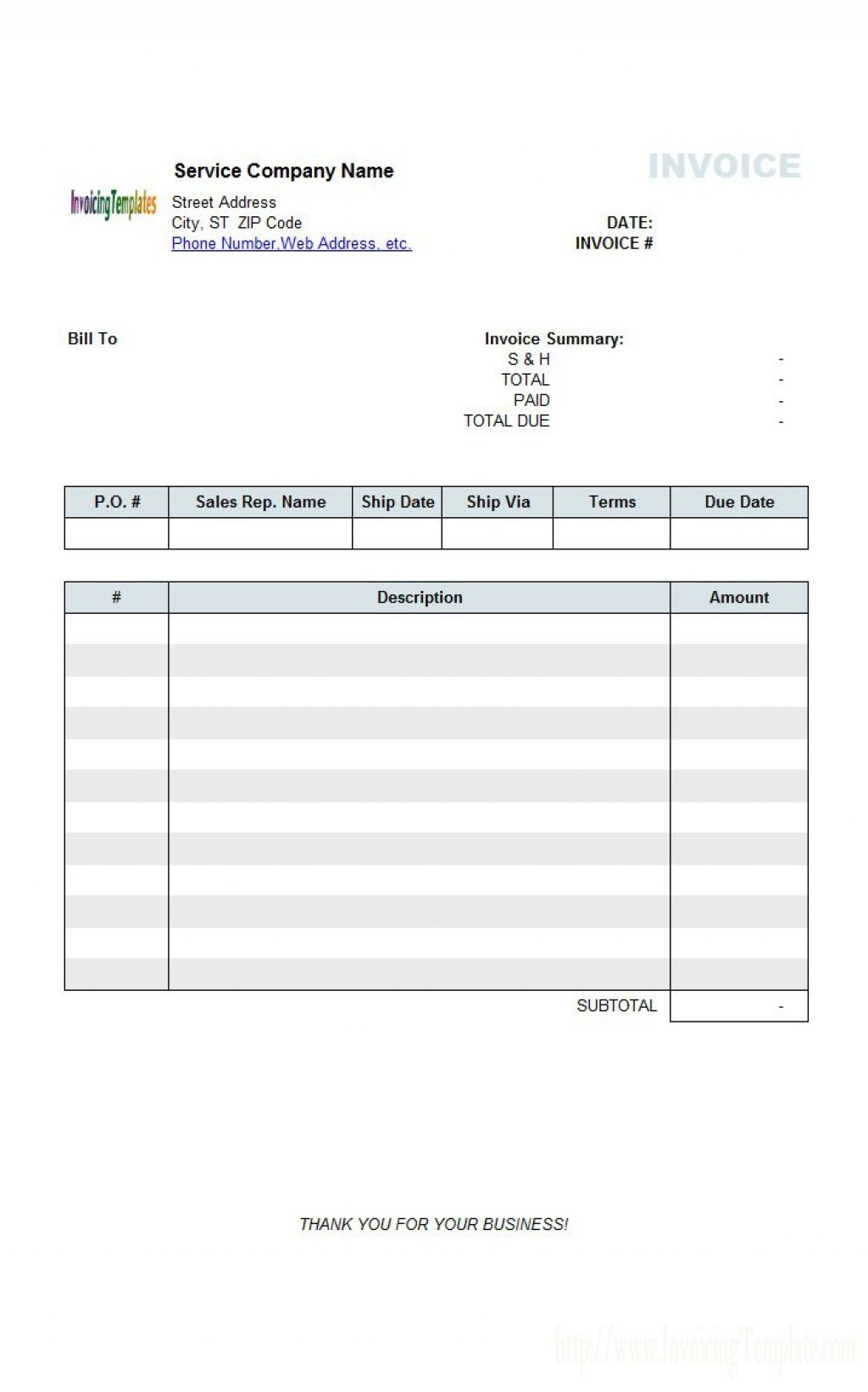 005 Astounding Generic Service Invoice Template Example Large