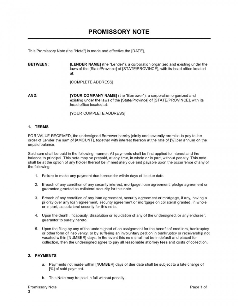 005 Astounding Template For Promissory Note High Resolution  Free Personal Loan Uk960
