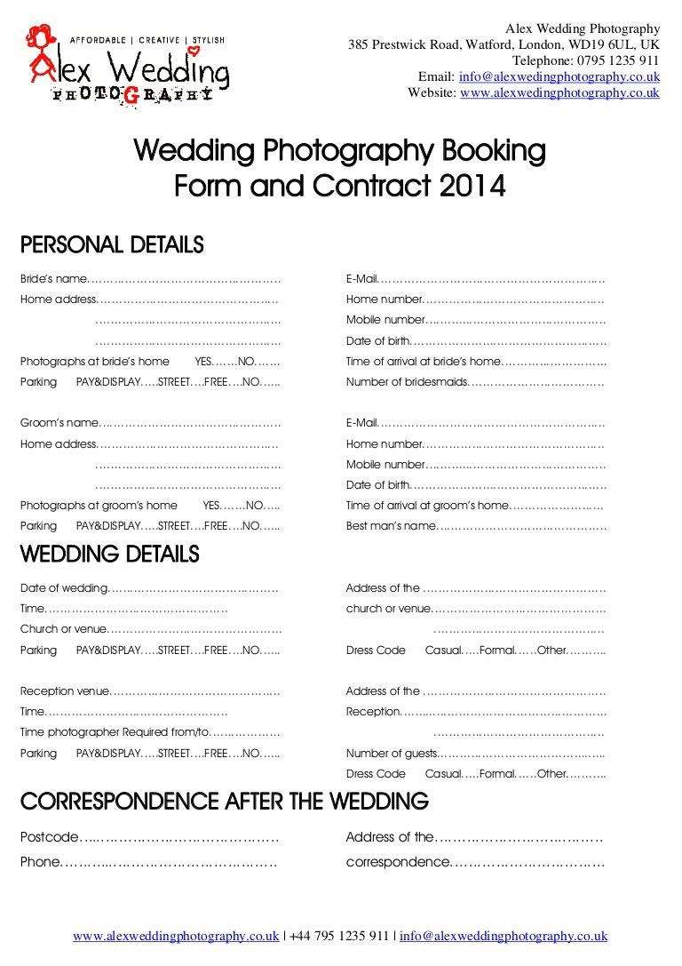 005 Astounding Wedding Photography Contract Templates. Picture  Template Pdf Photographer UkFull
