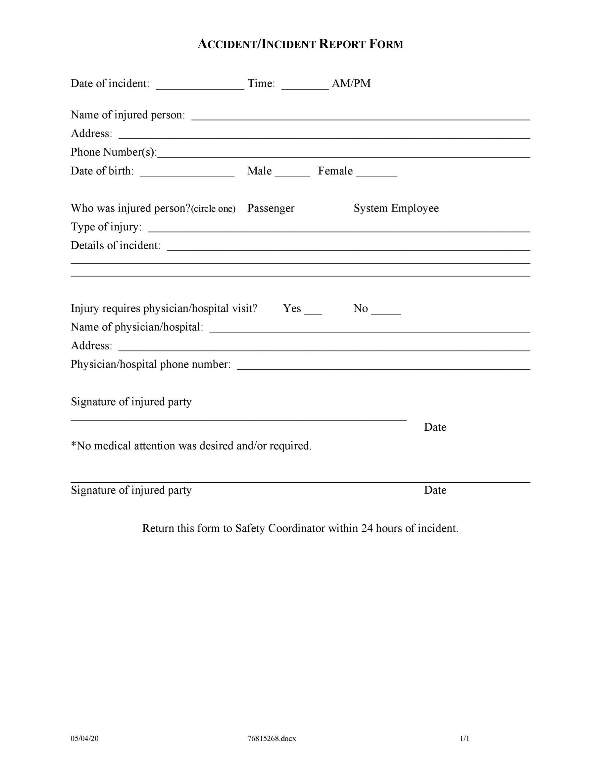 005 Awesome Accident Report Form Template Highest Clarity  Free South Africa Pdf1920