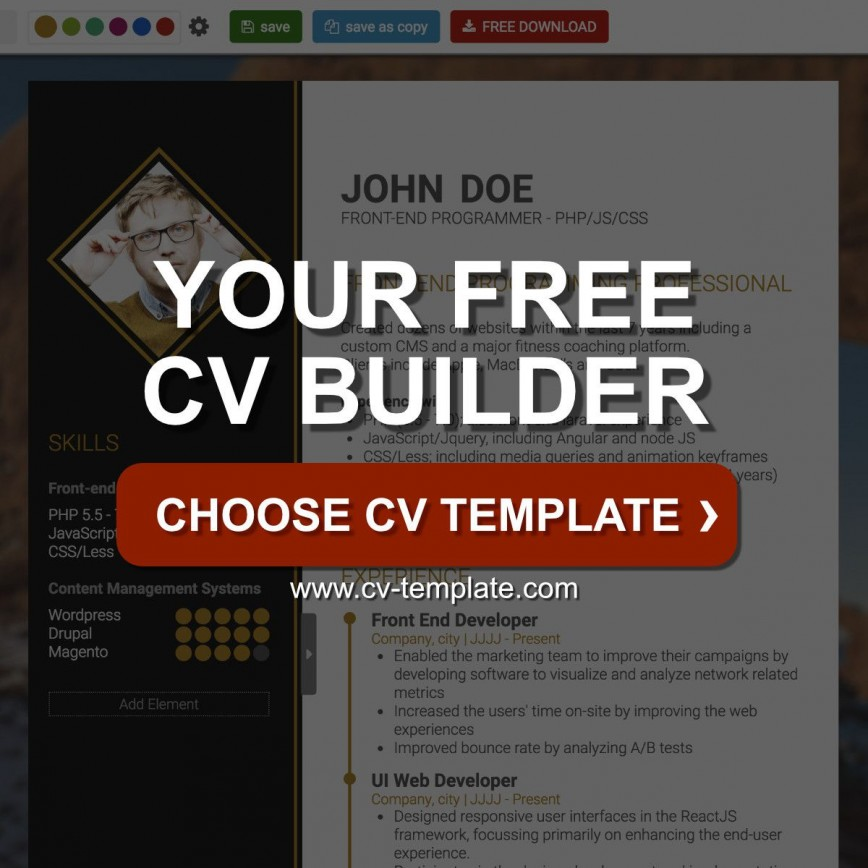 005 Awesome Create Resume Online Free Template Concept 868