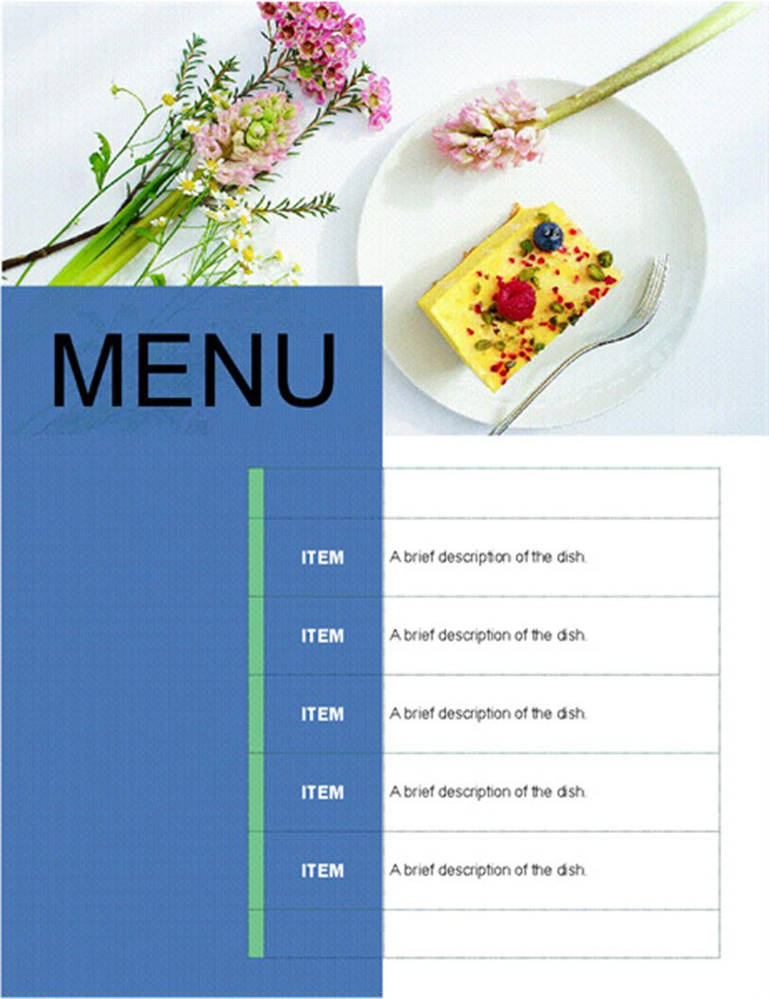 005 Awesome Food Menu Card Template Free Download Inspiration Full