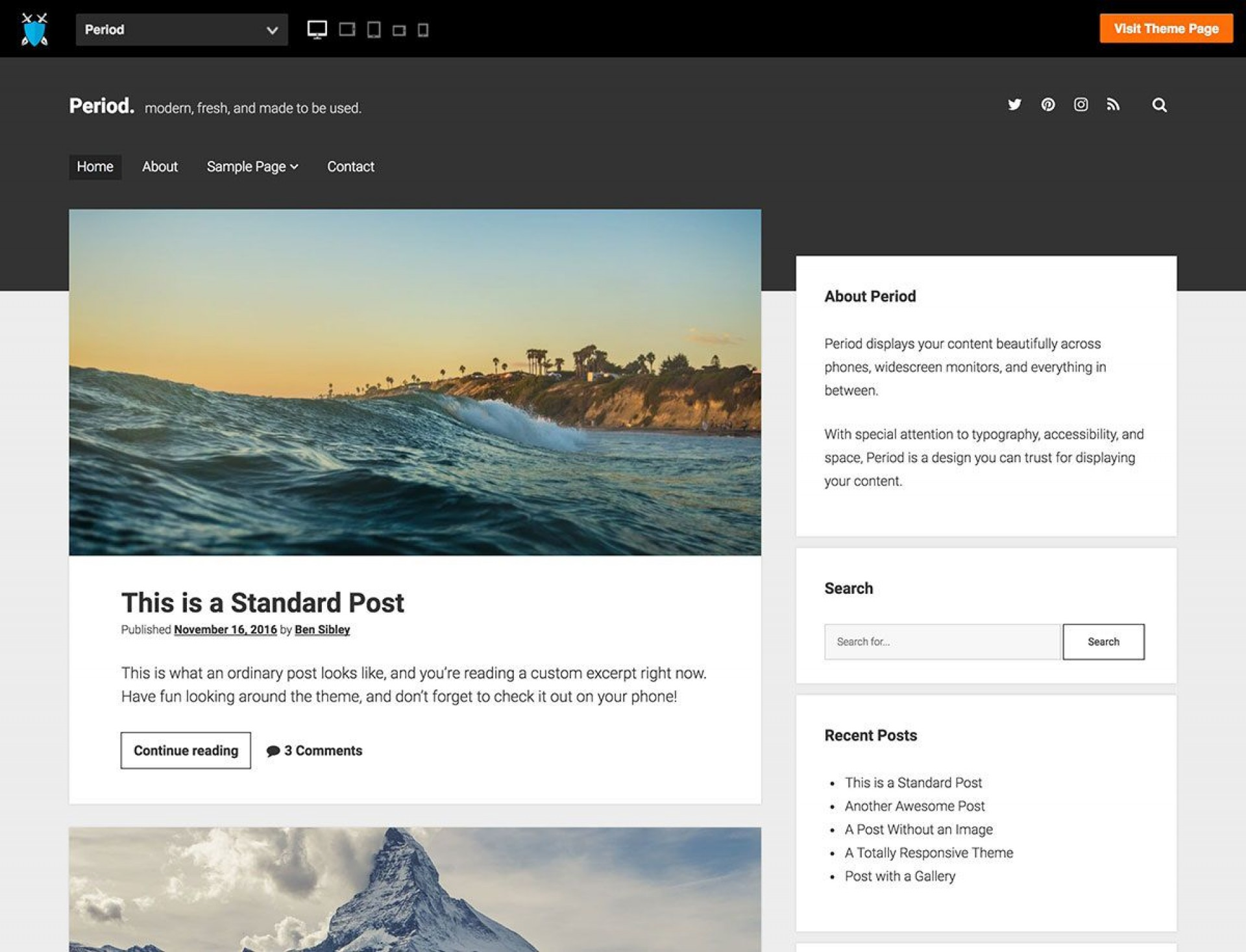 005 Awesome Free Blog Template Wordpres Highest Clarity  Wordpress Best Travel Theme Food 20201920