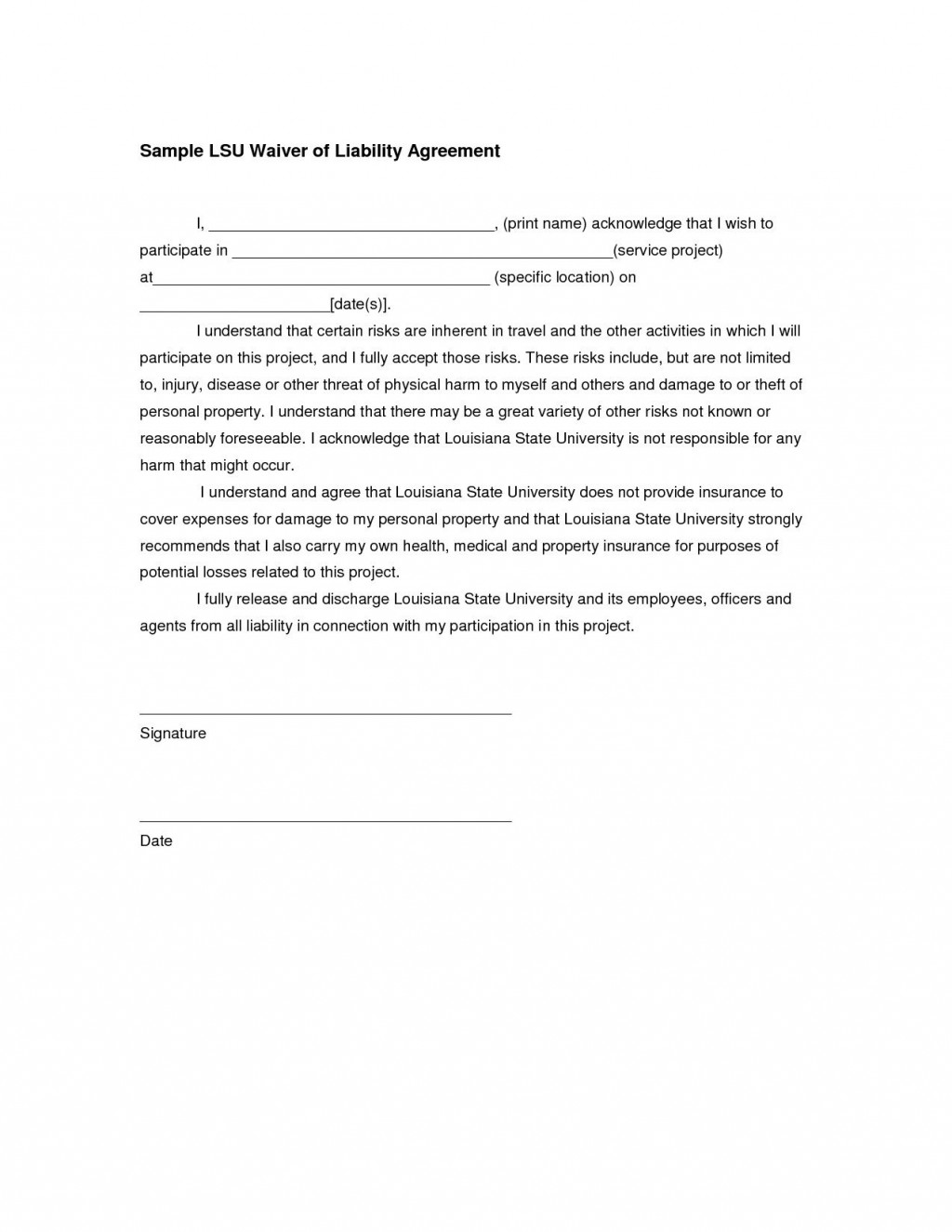 005 Awesome Liability Release Form Template Example  General Waiver Church FreeLarge