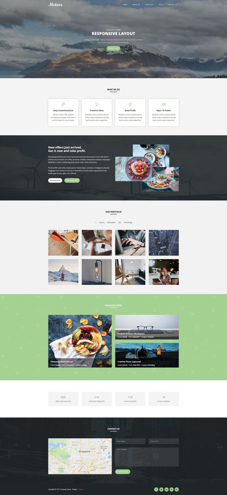 005 Awesome One Page Website Template Html5 Free Download Highest Clarity  Parallax728