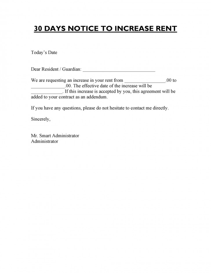 005 Awesome Rent Increase Letter Template Sample  Rental South Africa Nz Scotland728