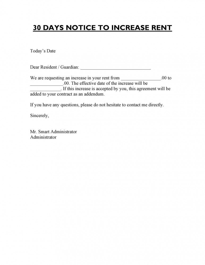 005 Awesome Rent Increase Letter Template Sample  Rental South Africa Nz Scotland868