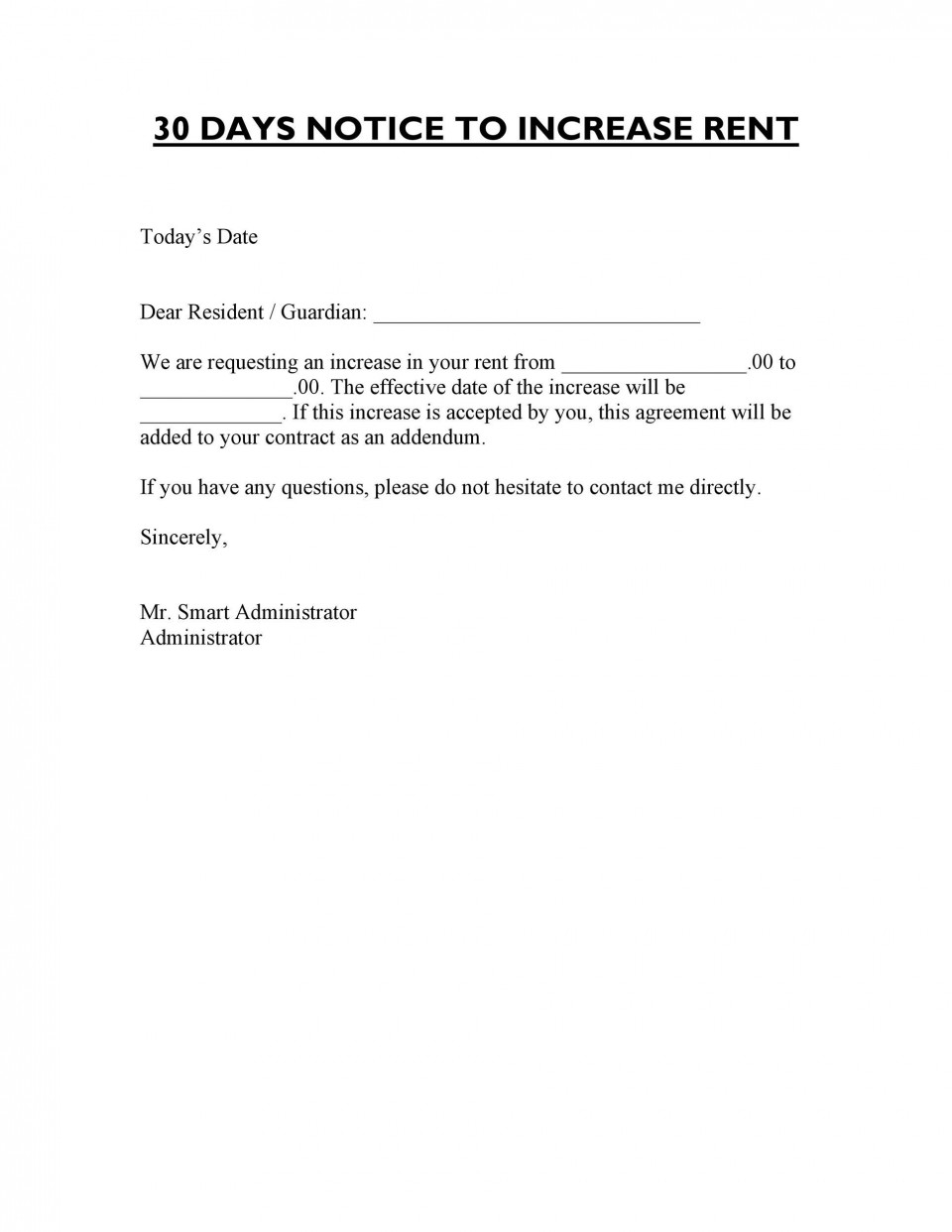 005 Awesome Rent Increase Letter Template Sample  Rental South Africa Nz Scotland960