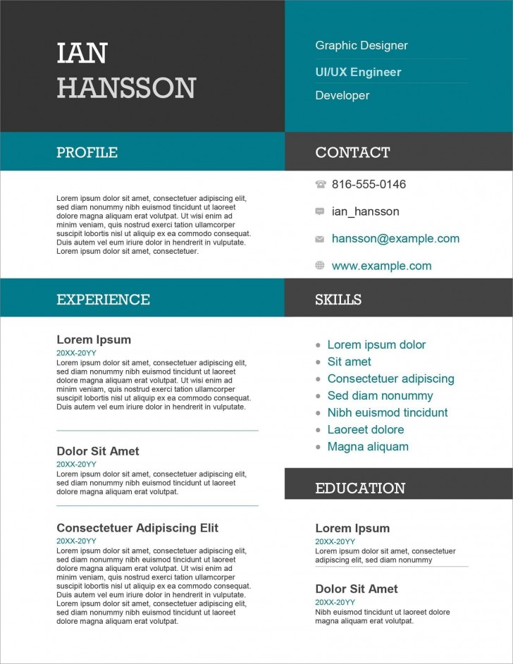 005 Awesome Resume Microsoft Word Template High Resolution  Cv/resume Design Tutorial With Federal Download728