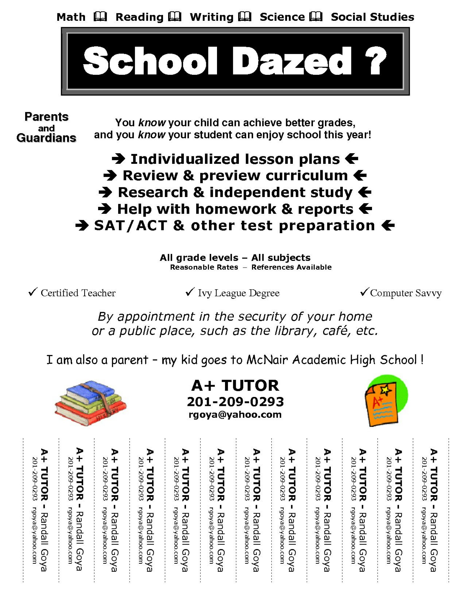 005 Awful Tutoring Flyer Template Free Example  Word Math1920
