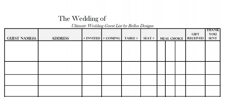 005 Awful Wedding Guest List Excel Spreadsheet Template Highest Clarity 728