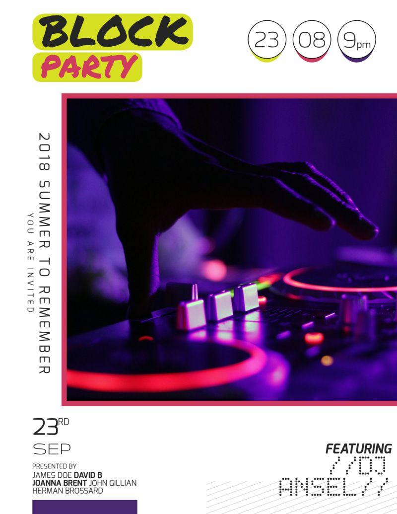 005 Beautiful Block Party Flyer Template Inspiration  TemplatesFull