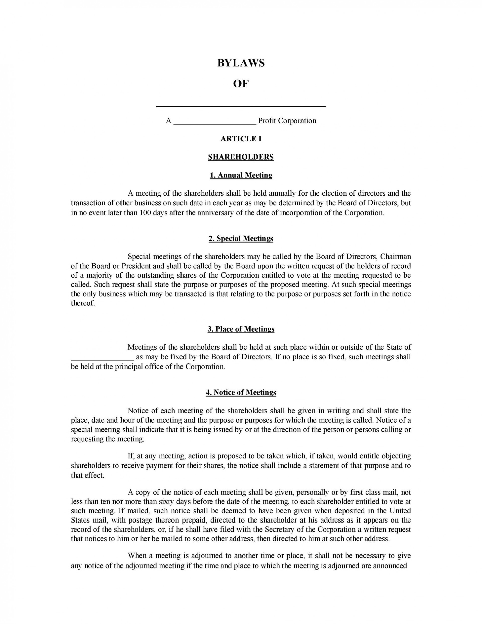 005 Beautiful Corporate Bylaw Template Pdf Example  Sample1920