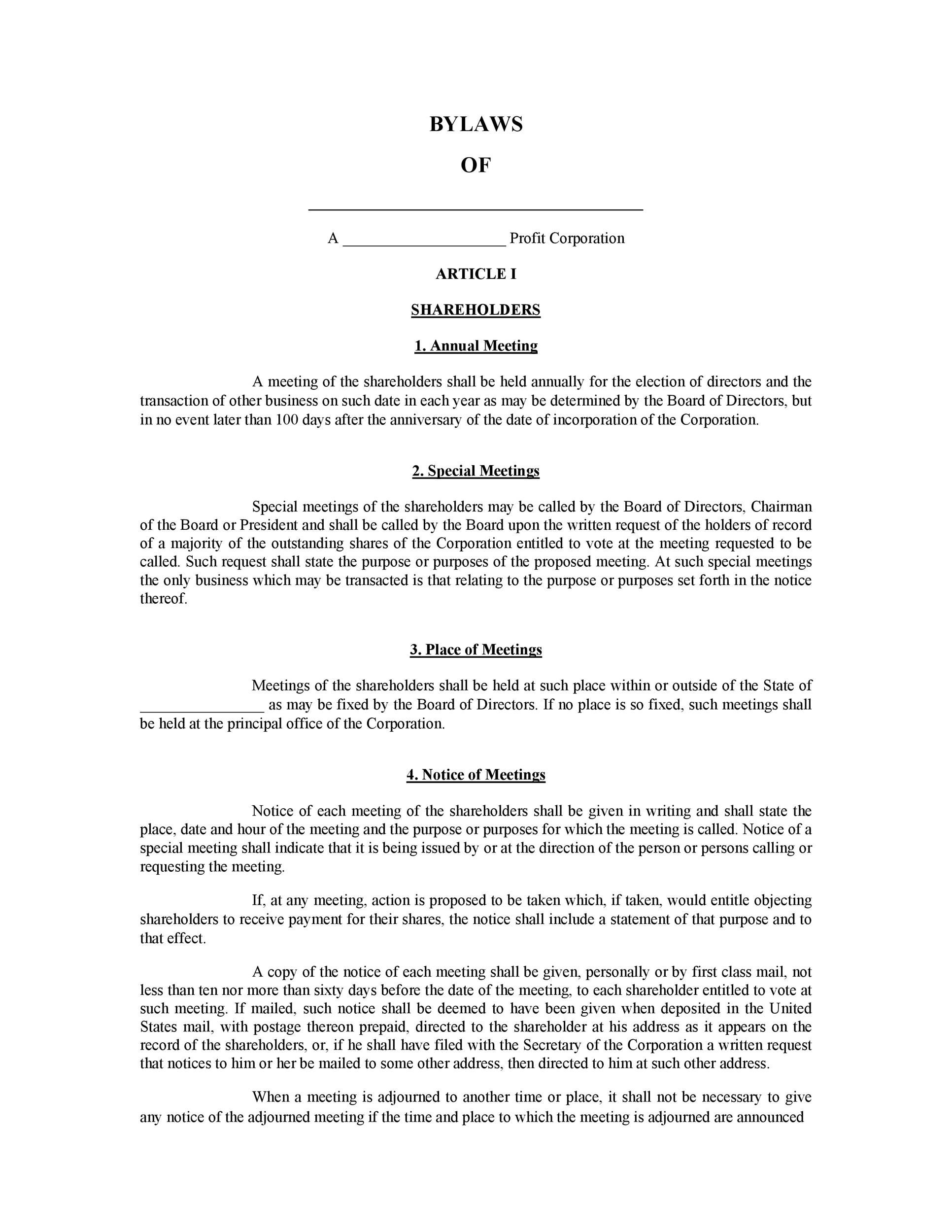 005 Beautiful Corporate Bylaw Template Pdf Example  SampleFull