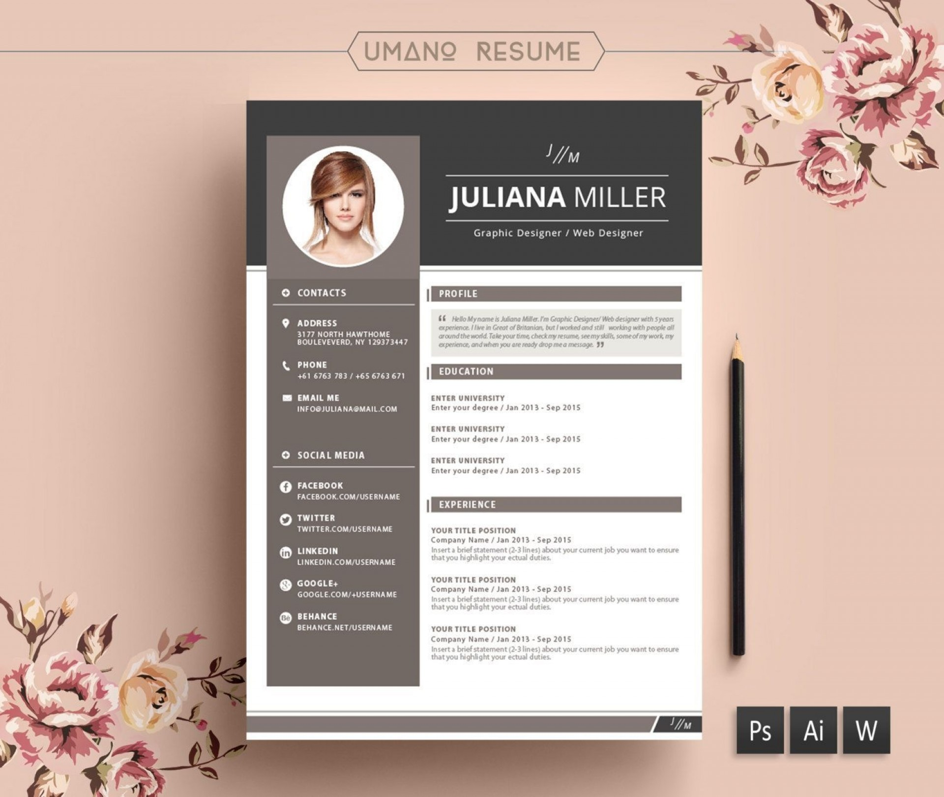 005 Beautiful Creative Resume Template Free Microsoft Word Design  Download For Fresher1920
