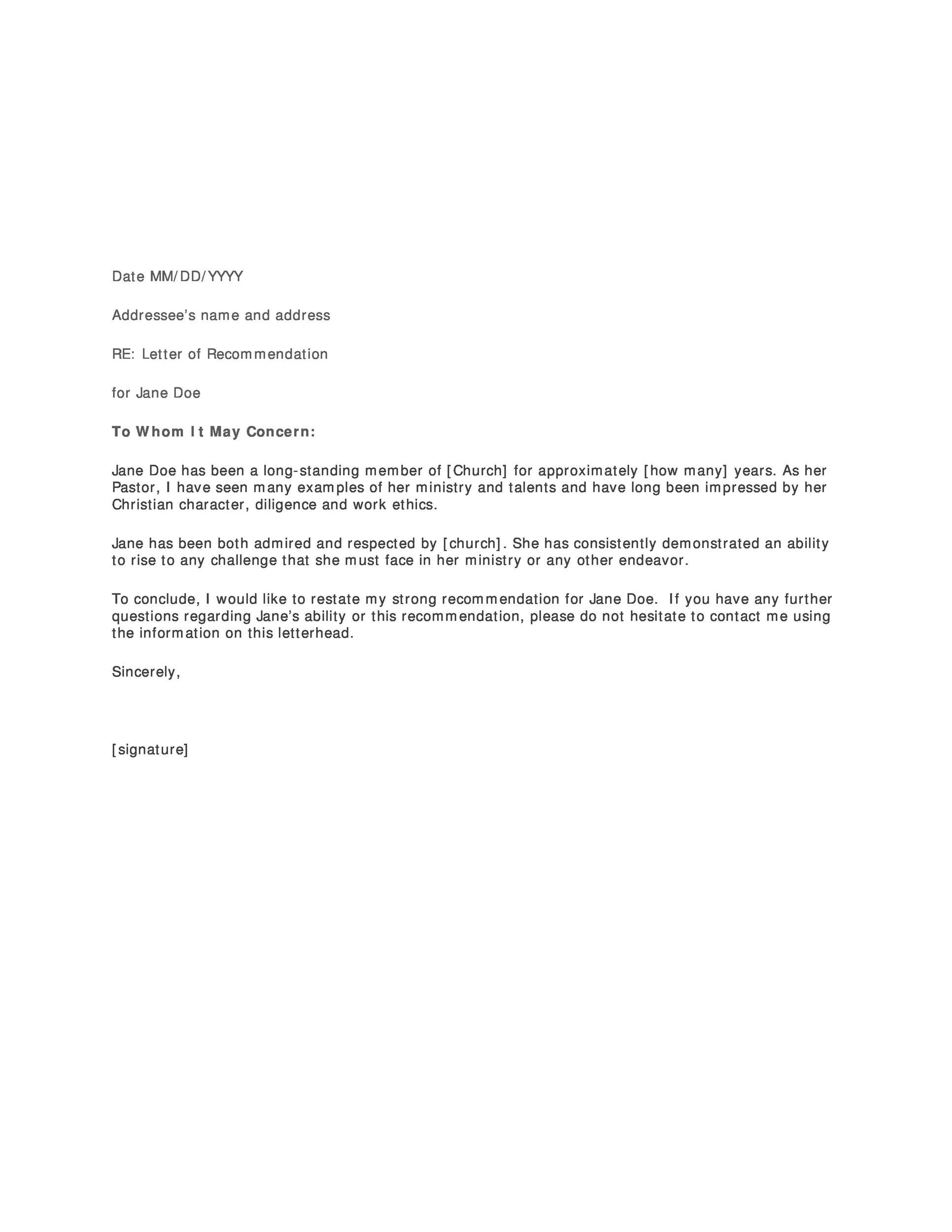 005 Beautiful Format For Letter Of Recommendation Sample Design  SamplesFull