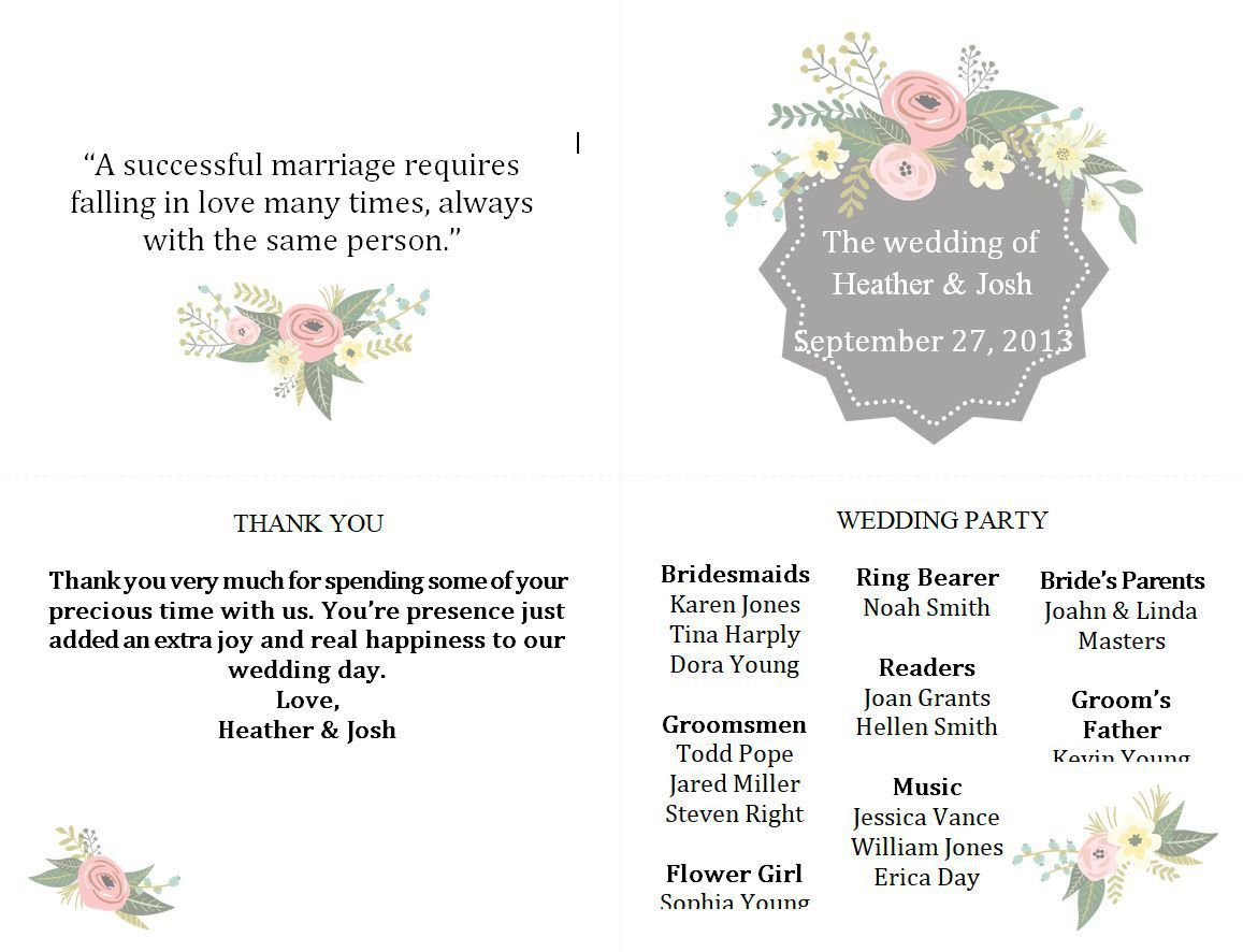 005 Beautiful Free Downloadable Wedding Program Template Photo  Templates That Can Be Printed Printable Fall ReceptionFull