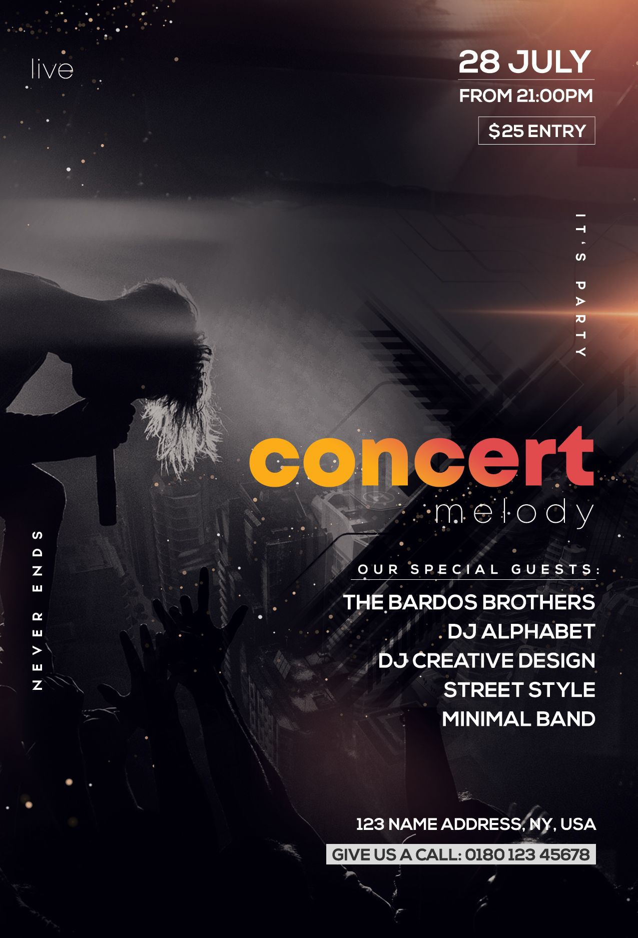 005 Beautiful Free Photoshop Concert Poster Template Design  TemplatesFull