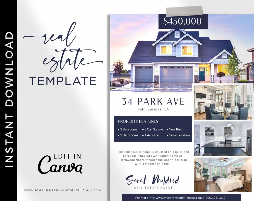 005 Beautiful House For Sale Flyer Template Sample  Free Real Estate Example By OwnerLarge