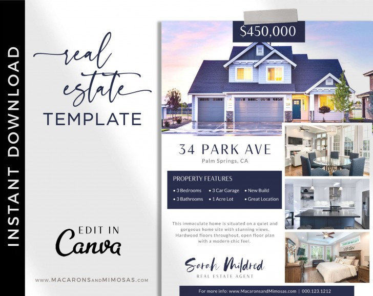 005 Beautiful House For Sale Flyer Template Sample  Free Real Estate Example By Owner728