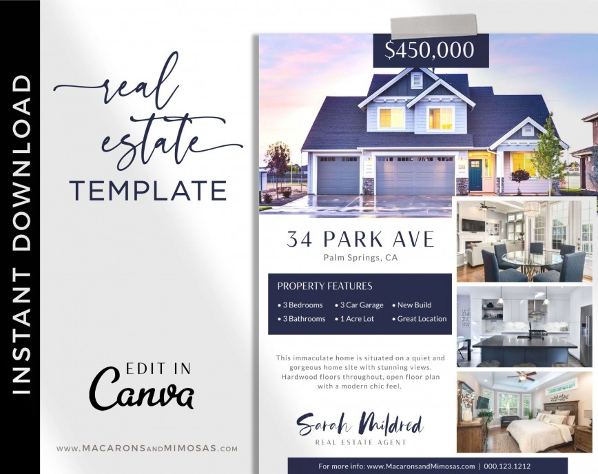 005 Beautiful House For Sale Flyer Template Sample  Free Real Estate Example By Owner868