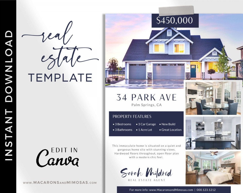 005 Beautiful House For Sale Flyer Template Sample  Free Real Estate Example By Owner960
