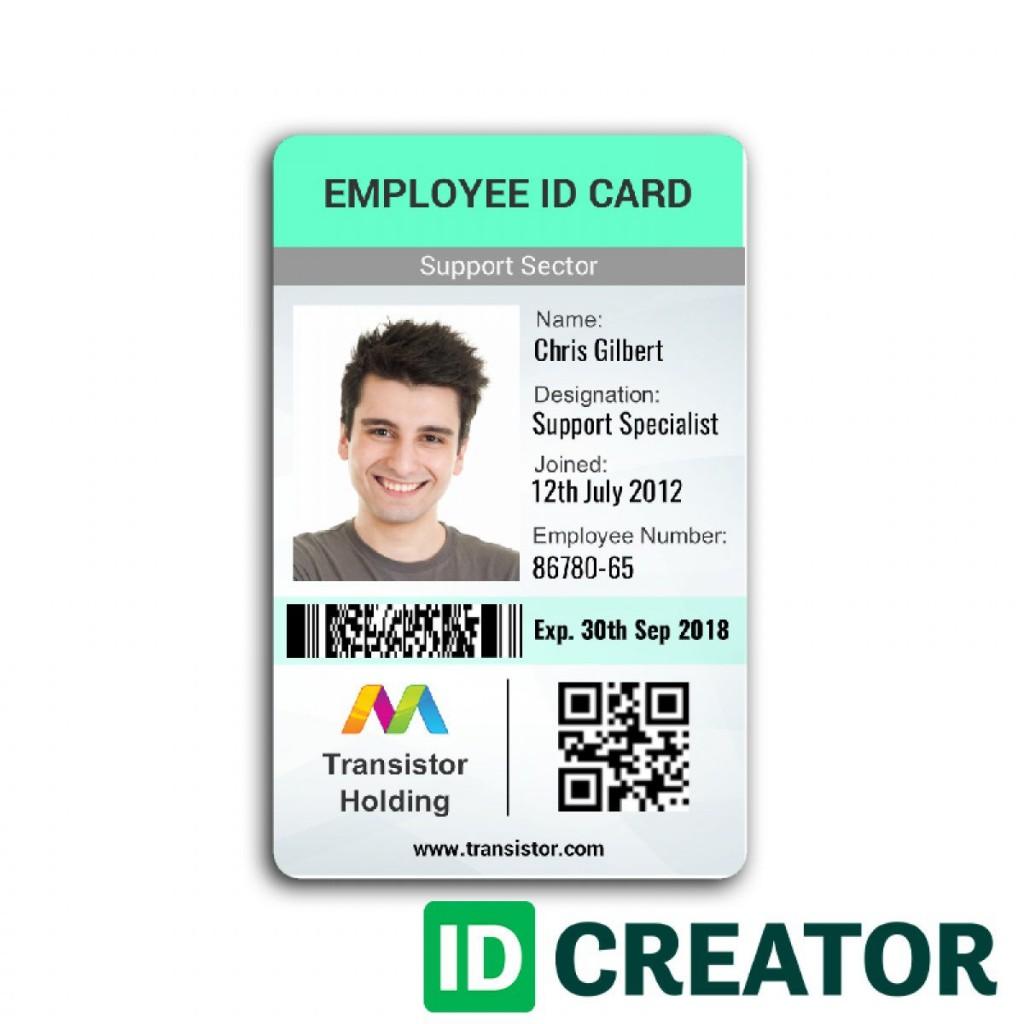 005 Beautiful Id Badge Template Word Image  Free EmployeeLarge