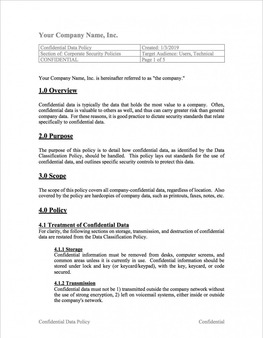 005 Beautiful Information Security Policy Template Concept  Free Iso 27001 Uk Gdpr Nz
