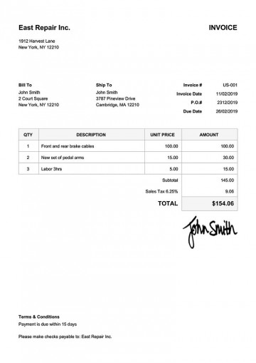 005 Beautiful Invoice Template Free Download Inspiration  Excel Service Word Format Gst Html360