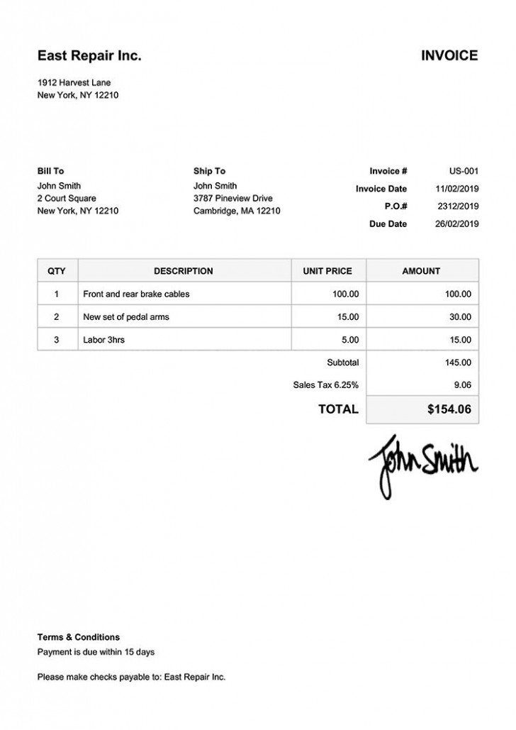 005 Beautiful Invoice Template Free Download Inspiration  Excel Service Word Format Gst Html728