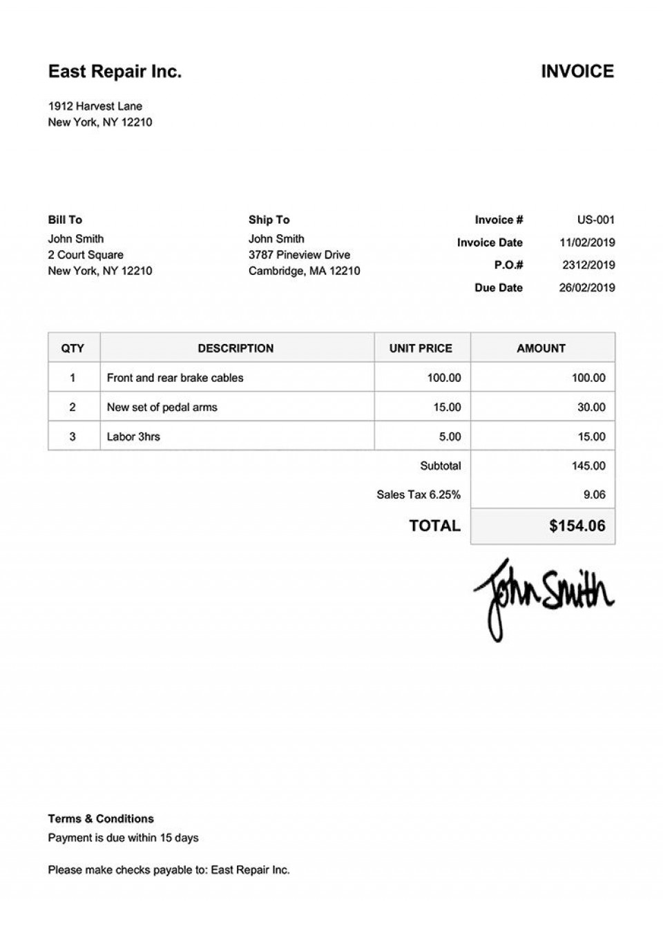 005 Beautiful Invoice Template Free Download Inspiration  Excel Service Word Format Gst Html960