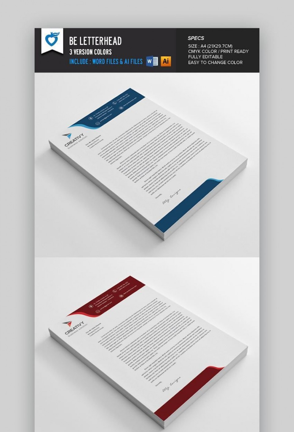 005 Beautiful Letterhead Template Free Download Word Concept  Microsoft Format In Personal Red960