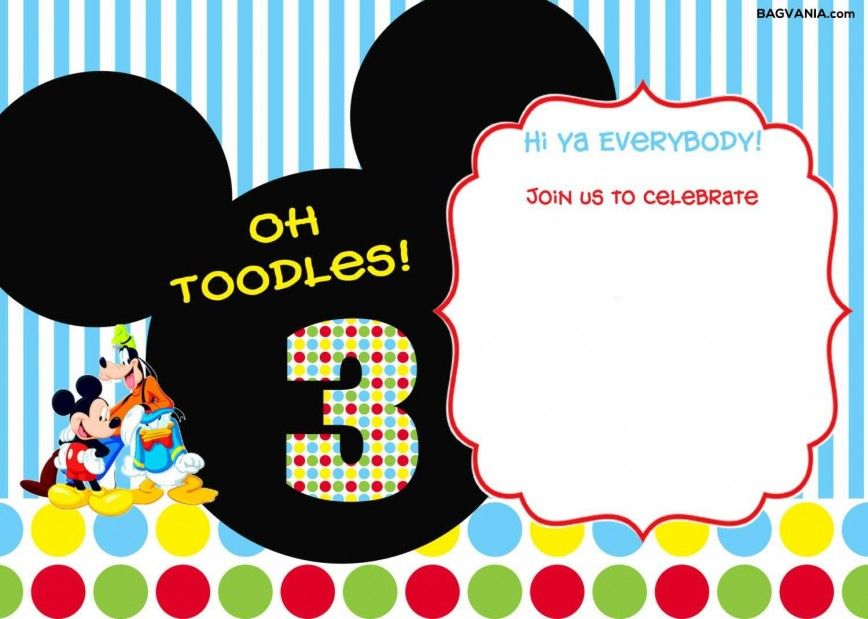 005 Beautiful Mickey Mouse Invitation Template Highest Clarity  Templates Free Download 1st Birthday Party Maker