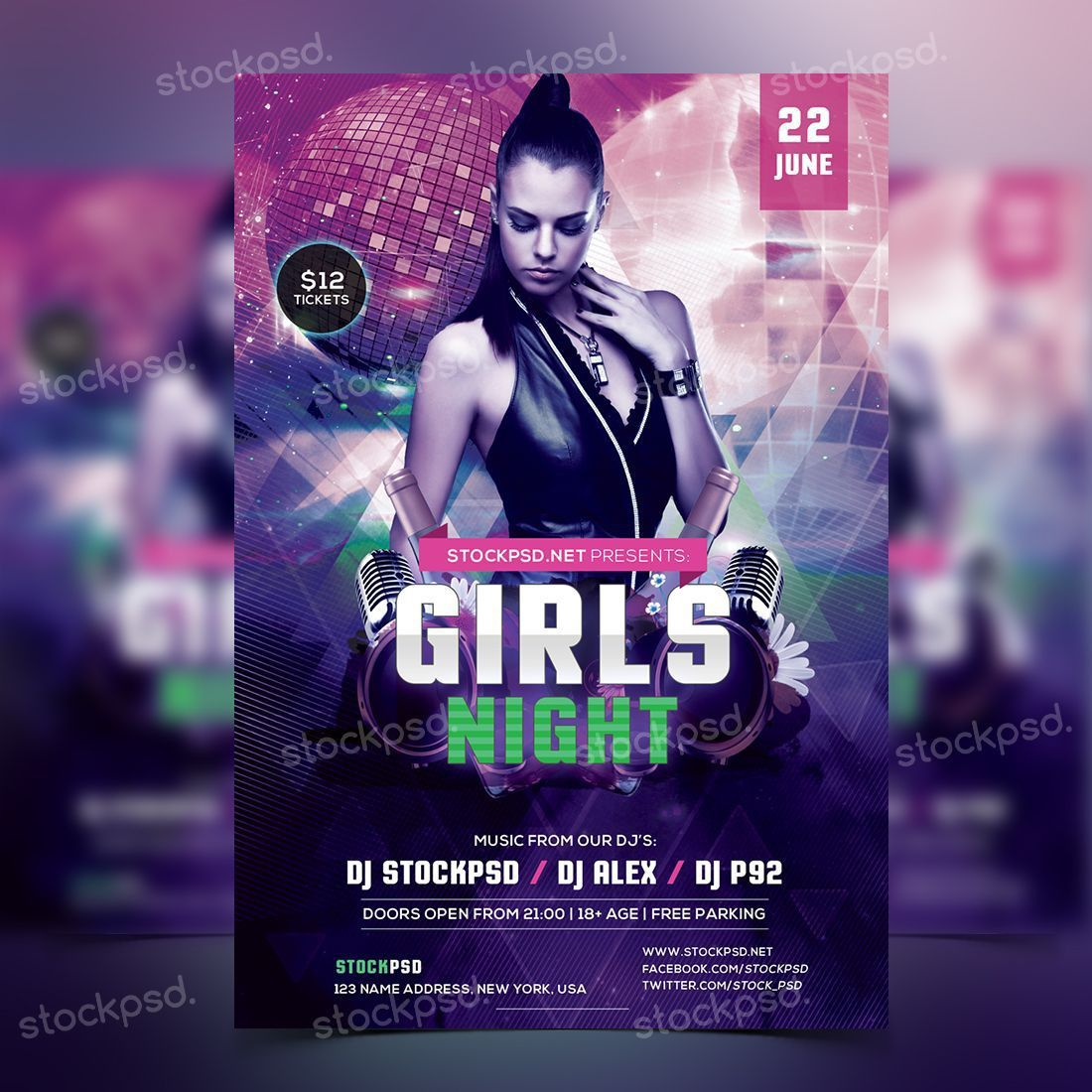 005 Beautiful Party Flyer Template Free Photoshop High Definition  Birthday Psd Masquerade -Full